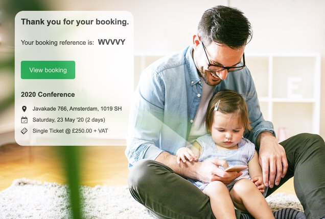 Father reading Bookwhen event booking confirmation email.