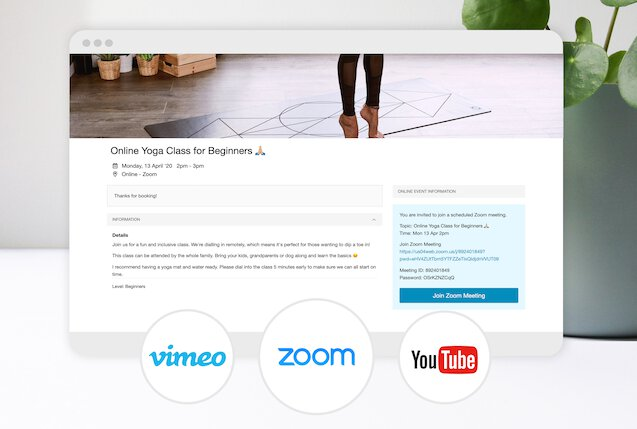 Bookwhen online class booking page with Zoom, Vimeo and YouTube.